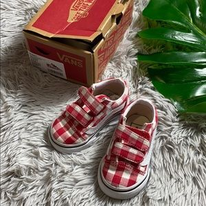 Vans old skool V red checkered vans toddler 4